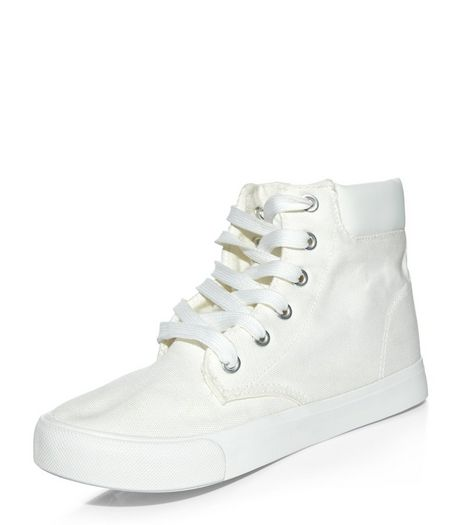 Teen White Lace Up Hi-Top Plimsolls | New Look