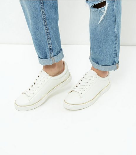 White Gold Trim Trainers  | New Look