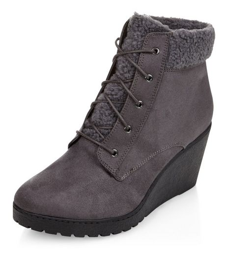 Teens Grey Suedette Faux Fur Trim Lace Up Wedge Boots | New Look