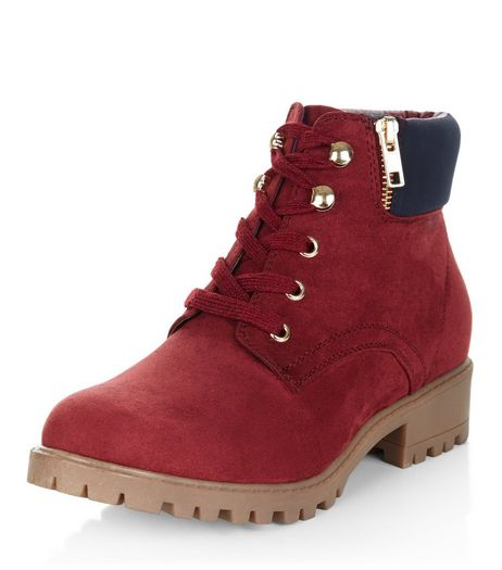 Teens Dark Red Lace Up Ankle Boots | New Look