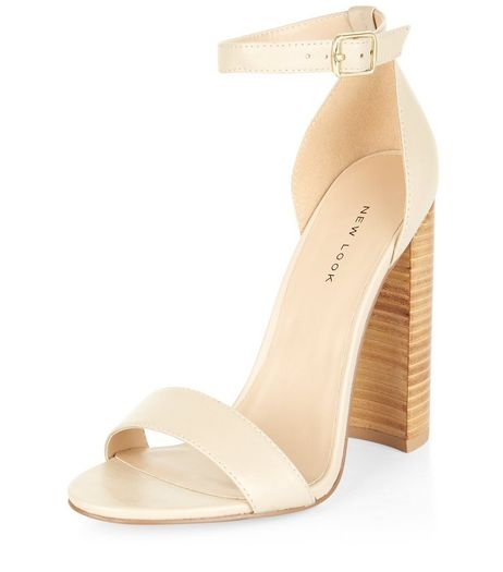 Cream Leather Block Heel Sandals  | New Look