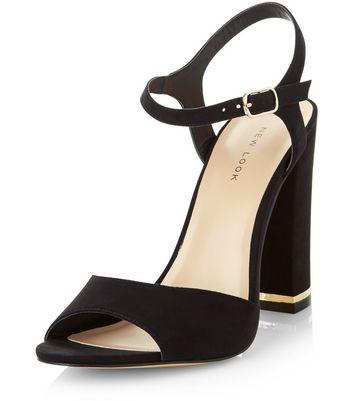 Sandalo  donna Black Suedette Metal Trim Heeled Sandals