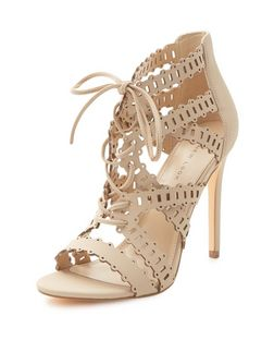 Nude Laser Cut Out Ghillie Heels  | New Look