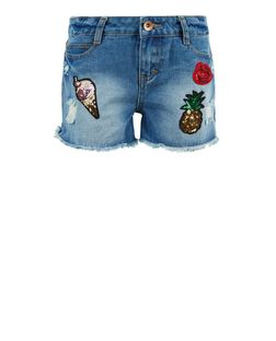 Teens Blue Sequin Badge Denim Shorts | New Look