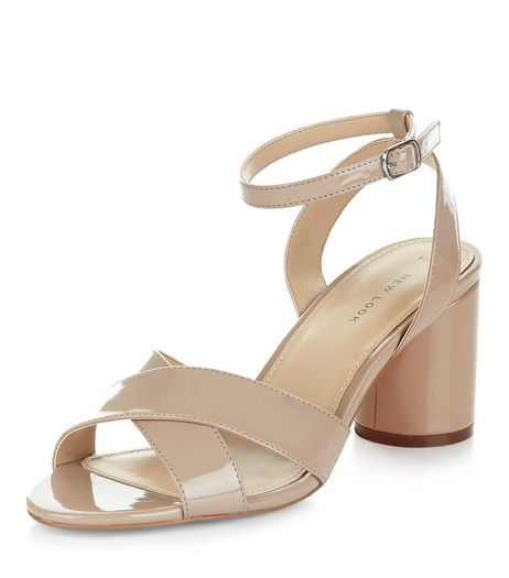 Nude Patent Cross Strap Heeled Sandals  | New Look
