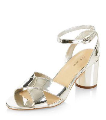 Sandalo  donna Silver Cross Strap Heeled Sandals