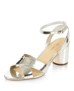 Silver Cross Strap Heeled Sandals  | New Look