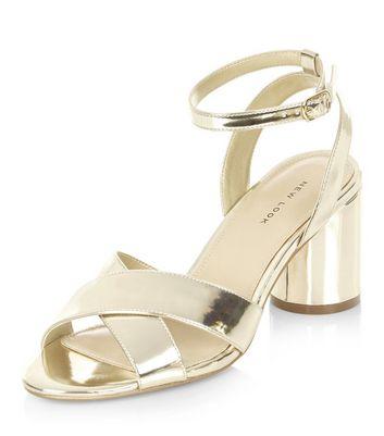 Sandalo  donna Gold Cross Strap Heeled Sandals