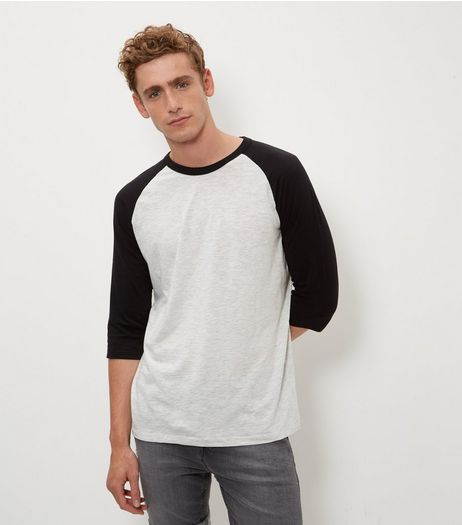 Pale Grey Raglan 3/4 Sleeve Top  | New Look