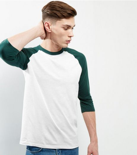 Green Cotton 3/4 Sleeve Raglan T-Shirt | New Look