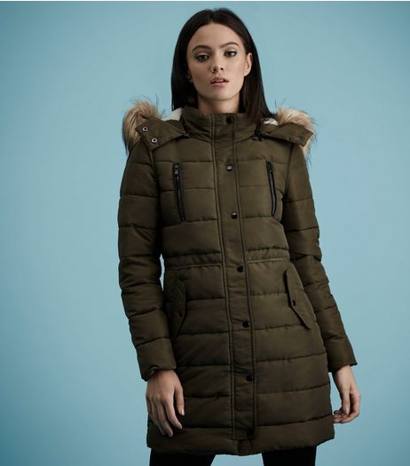 Dark Green Borg Lined Puffer Jacket  | New Look
