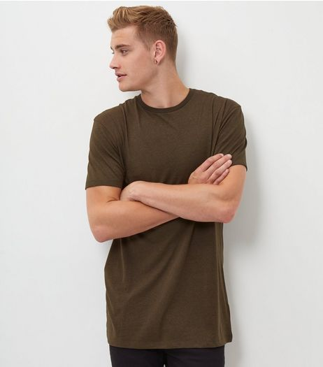 Khaki Longline T-Shirt | New Look
