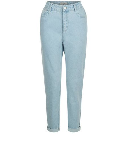 Teens Blue Turn Up Hem Mom Jeans | New Look