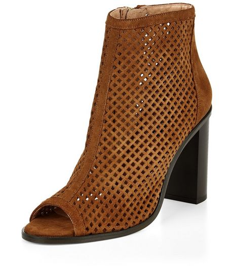 Tan Leather Laser Cut Out Peep Toe Block Heel Boots  | New Look