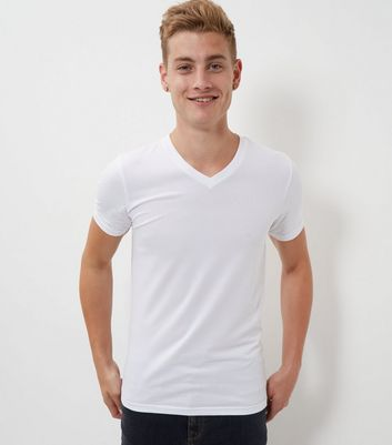 White Muscle Fit Mix Stretch V Neck T-Shirt