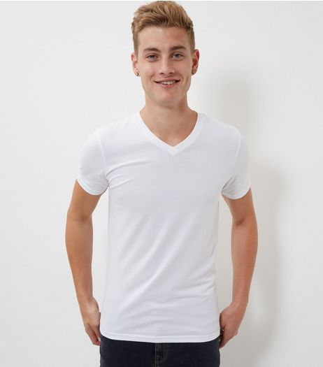 White Cotton Mix Stretch V Neck T-Shirt  | New Look