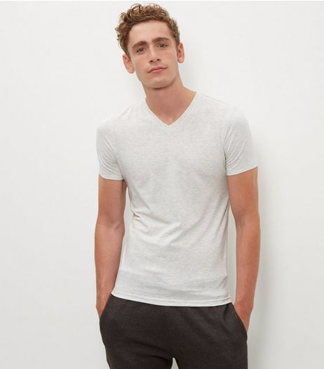 Cream Cotton Mix V Neck T-Shirt  | New Look