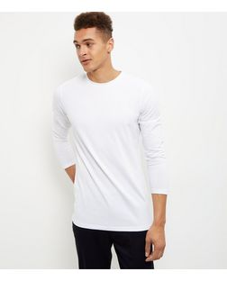 White Cotton Mix Crew Neck Long Sleeve Top  | New Look