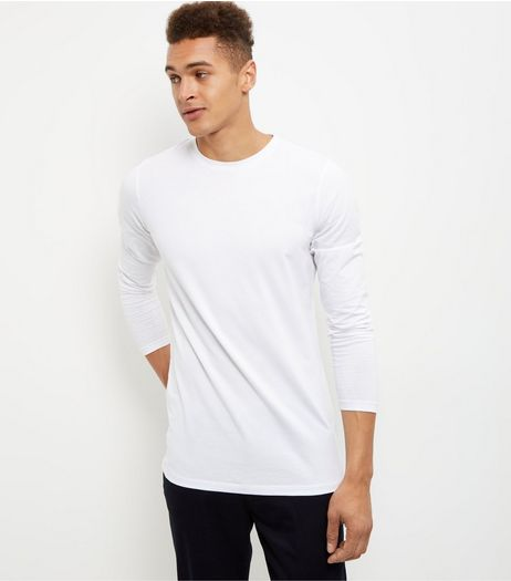 White Cotton Mix Stretch Crew Neck Long Sleeve Top  | New Look