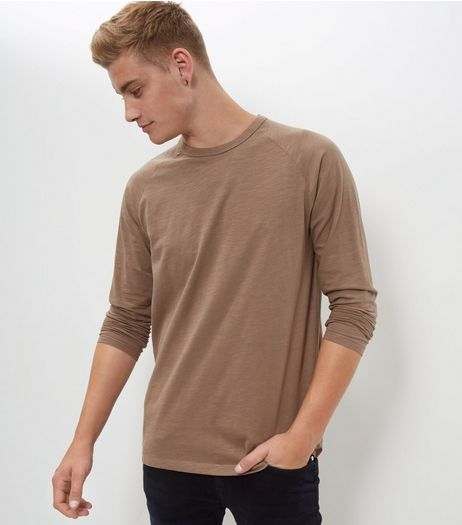 Stone Raglan Long Sleeve Top  | New Look