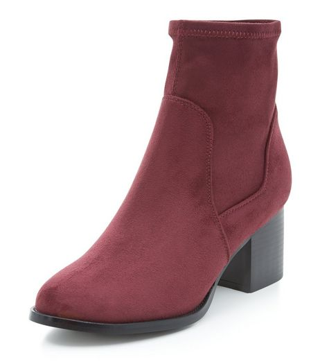 Teens Dark Red Block Heel Ankle Boots | New Look
