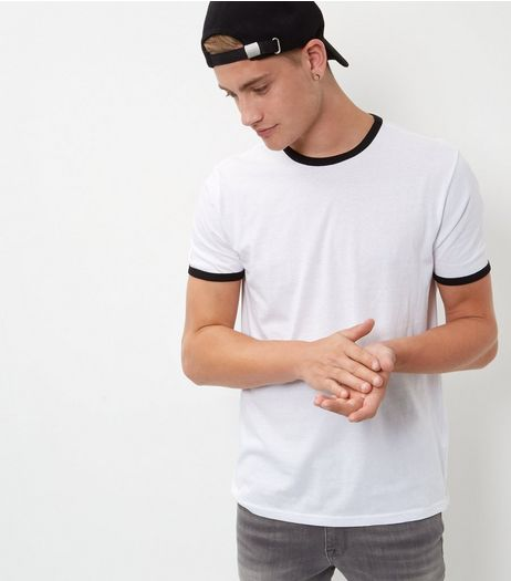 White Contrast Trim T-Shirt  | New Look