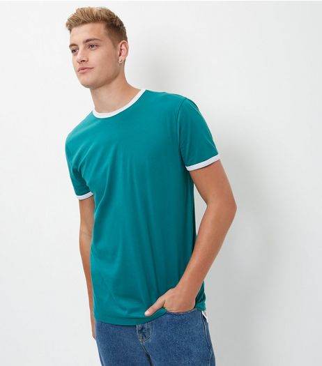 Green Contrast Trim T-Shirt | New Look