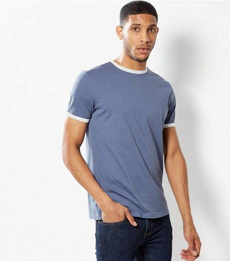 Blue Contrast Trim T-Shirt | New Look