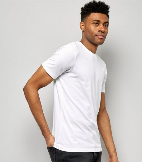 White Cotton Mix Stretch T-Shirt  | New Look