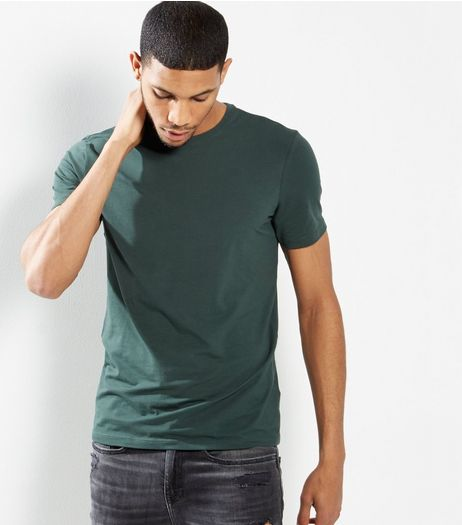 Dark Green Basic Short Sleeve T-Shirt  | New Look