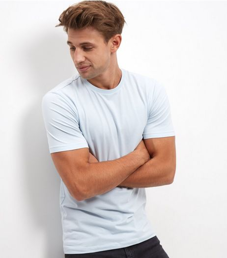 Light Blue Stretch Crew Neck T-Shirt | New Look