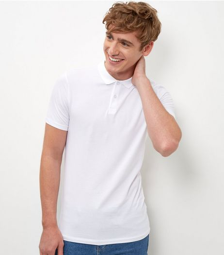 White Cotton Mix Polo Shirt  | New Look