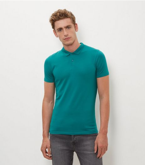 Green Cotton Mix Polo Shirt  | New Look