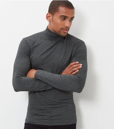 Grey Cotton Mix Stretch Turtle Neck Top | New Look