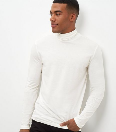 Cream Cotton Mix Stretch Roll Neck | New Look