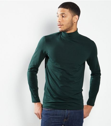 Green Cotton Roll Neck T-Shirt | New Look