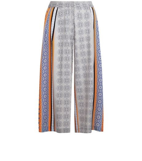 Innocence Grey Tile Print Culottes | New Look