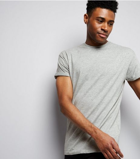 Grey Rolled Sleeve T-Shirt | New Look