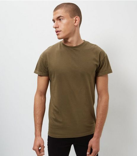Khaki Roll Sleeve T-Shirt  | New Look