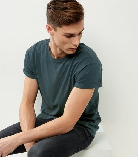 Dark Green Roll Sleeve T-Shirt | New Look