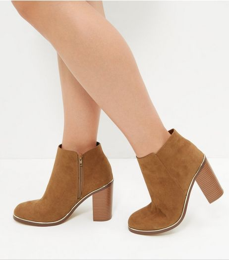 Wide Fit Tan Suedette Metal Trim Heeled Ankle Boots | New Look