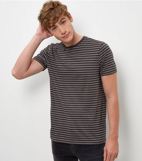 Light Grey Stripe Crew Neck T-Shirt  | New Look