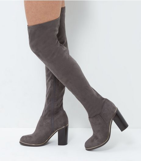 Wide Fit Grey Suedette Metal Trim Over The Knee Boots  | New Look