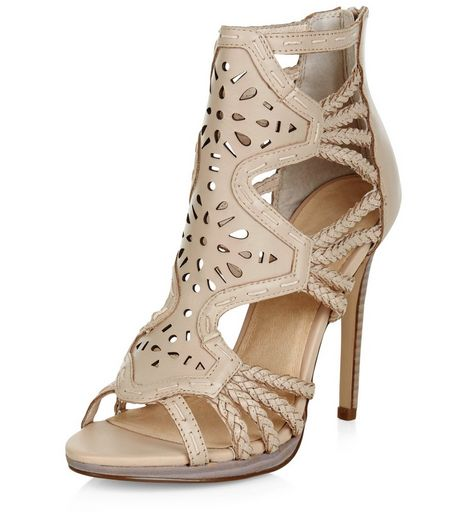 Cream Premium Leather Laser Cut Out Plaited Strap Heels  | New Look