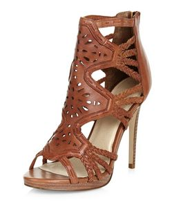 Tan Premium Leather Laser Cut Out Plaited Strap Heels  | New Look