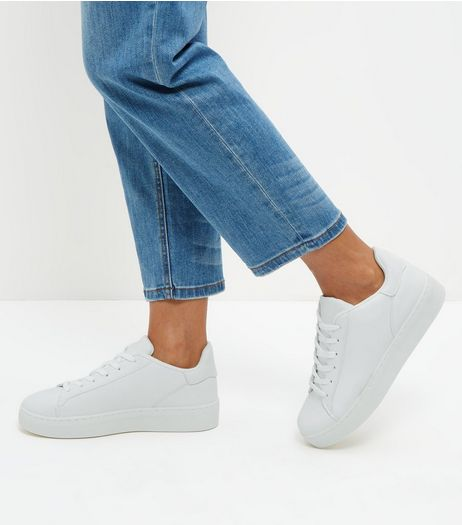 White Lace Up Chunky Trainers  | New Look