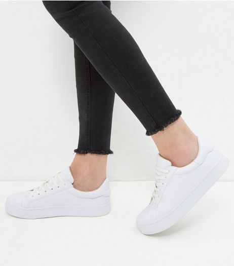White Lace Up Contrast Plimsolls | New Look