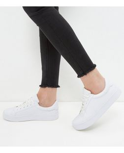 White Lace Up Contrast Trim Plimsolls | New Look