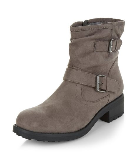 Grey Buckle Strap Ankle Boots  | New Look