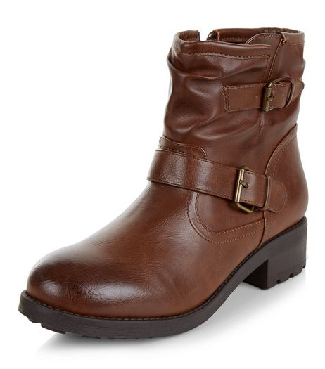 Brown Buckle Strap Ankle Boots  | New Look